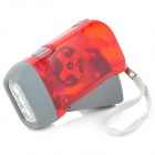 FC594 Hand Crank Battery-Free Dynamo White 3-LED Torch -- Red (Torches - Dynamo Category)