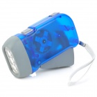 PB349 Hand Crank Battery-Free Dynamo White 3-LED Torch -- Blue (Torches - Dynamo Category)