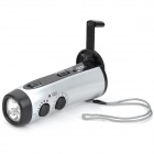 WQ365 Hand-Crank 5-LED White Light Dynamo Torch with FM / AM -- Silver Plus Black (Torches - Dynamo Category)
