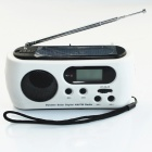 PW484 Hand-Cranking Dynamo / Solar Powered Radio with 3-LED 15000MCD White Torch -- White Plus Black (Torches - Dynamo Category)