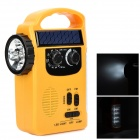 TE-KNIKA-GD BG586 Solar Hand-Crank 13-LED White Torch Plus AM / FM Radio -- Yellow (3 x AA) (Torches - Dynamo Category)