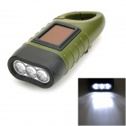 DW175 Solar Hand Cranked 6lm 3-LED White Torch with Quick Release Buckle -- Army Green (Torches - Dynamo Category)